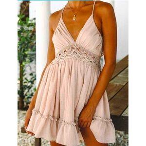 Women's Pink Backless Lace Halter Mini Dress Sz M